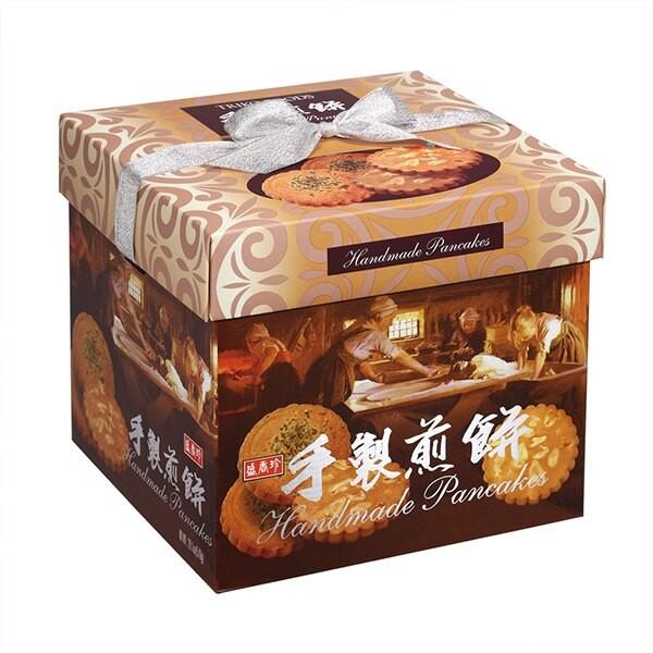 盛香珍 手製煎餅禮盒(花生+綠藻) 570g (盒) 緞帶為提把